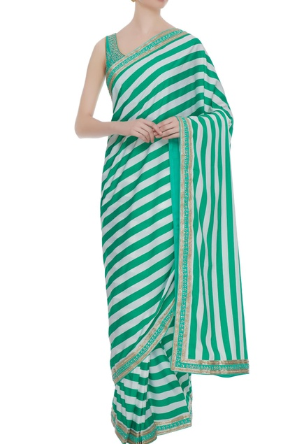 White & green crepe zircon pre-stitched saree with blouse
