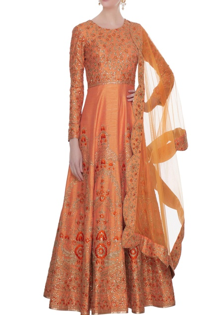 Peach raw silk zari, sequin & thread work floor length anarkali with dupatta