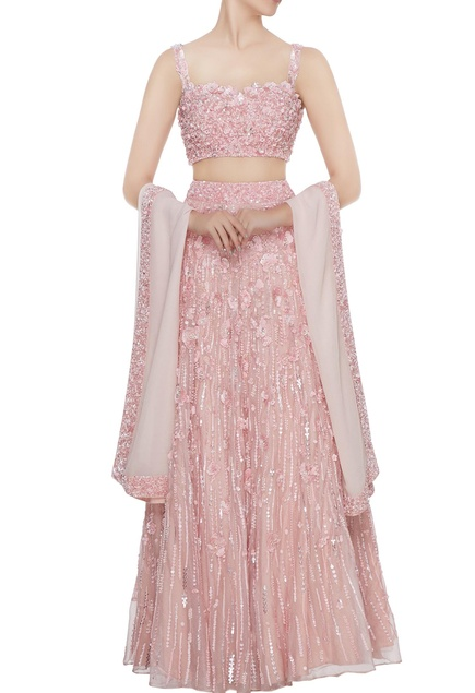 Pink hand embroidered bustier blouse with lehenga & dupatta set