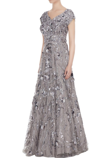 Silver 3D rosette tulle net anarkali gown with cap sleeves