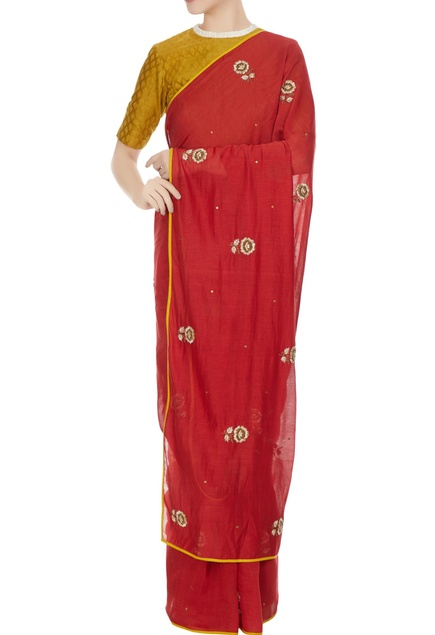 Red chanderi hand embroidered saree with blouse