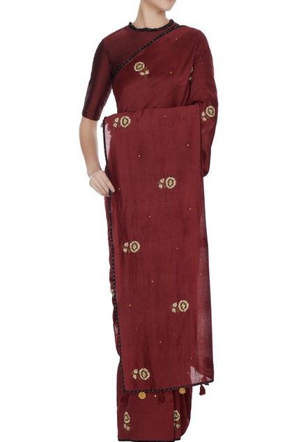 Maroon chanderi hand embroidered saree with blouse