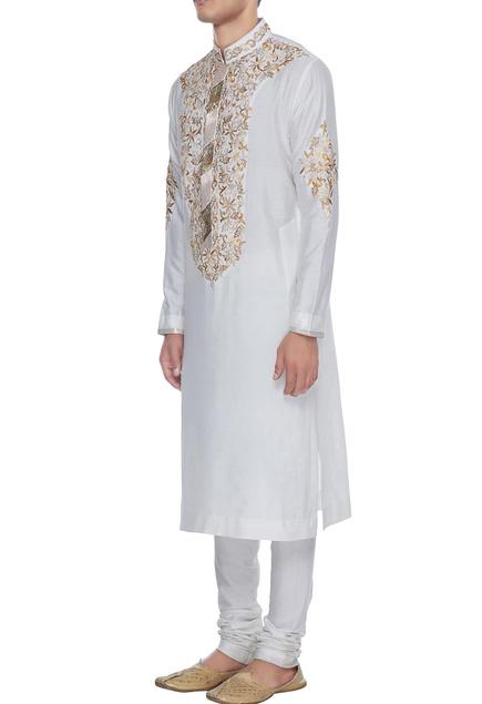 Ivory spun silk jaal resham embroidered kurta & churidar