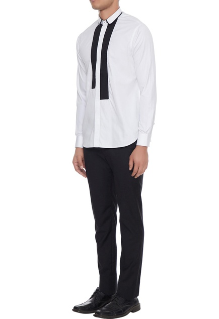 White dress shirt with black patchwork detail