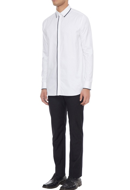 White dress shirt with black piping detail