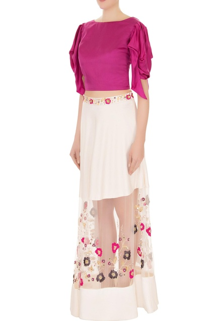 Pink & ivory silk & ivory embroidered skirt with blouse