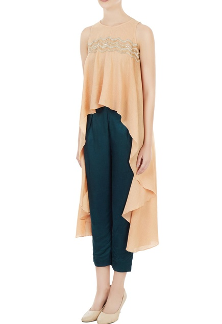 Peach waterfall cape blouse with satin pants