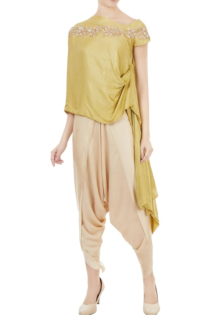 Chartreuse embellished one-shoulder tunic with dhoti pants