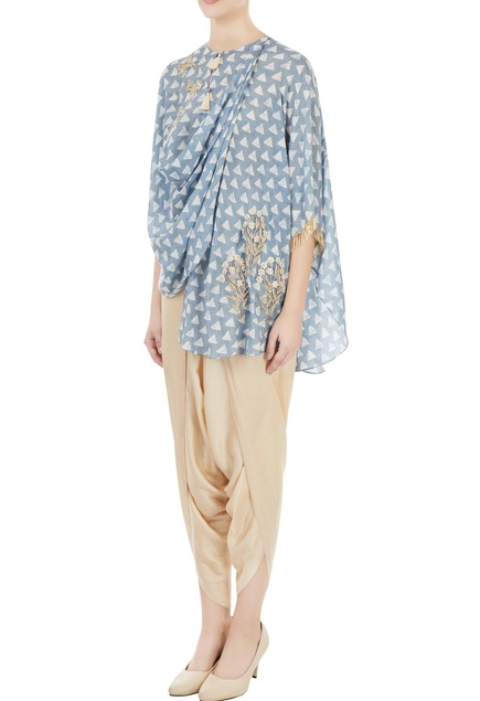 Blue & off-white printed bird motif embroidered blouse with pants
