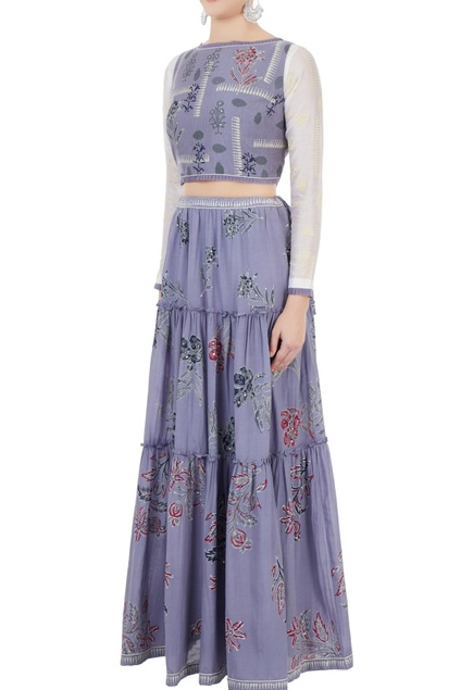 Lavender blue crop top with tiered maxi skirt