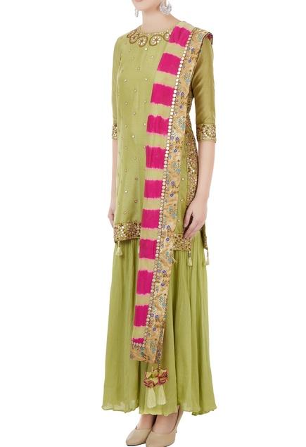 Green chanderi gota embroidered kurta with crushed gharara & fuschia dupatta