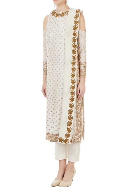 Off white chanderi gota embroidered kurta
