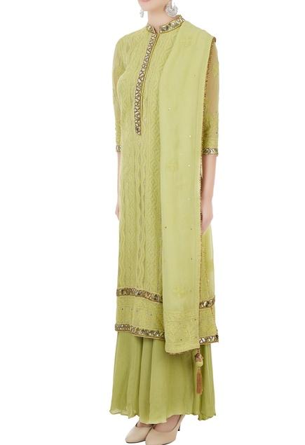 Green georgette lucknowi thread & mirror work kurta with dupatta
