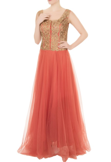 Peach net zari embroidered gown