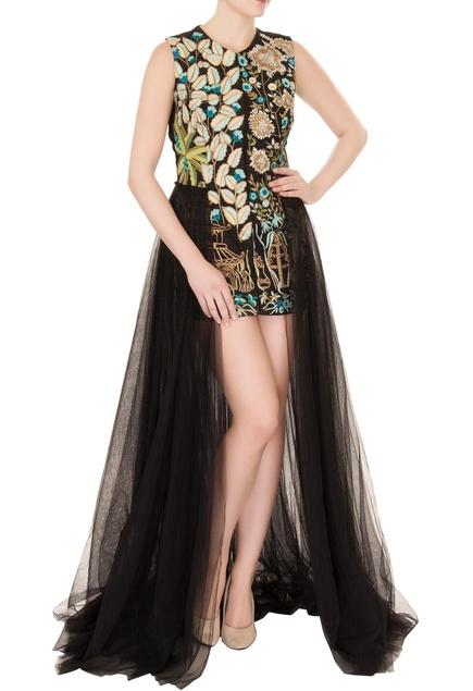 Black silk & net thread embroidered gown