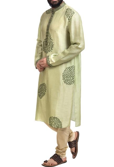 Green muga dupion silk floral hand embroidered kurta with churidar