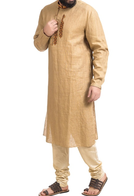 Beige linen paisley embroidered kurta with churidar
