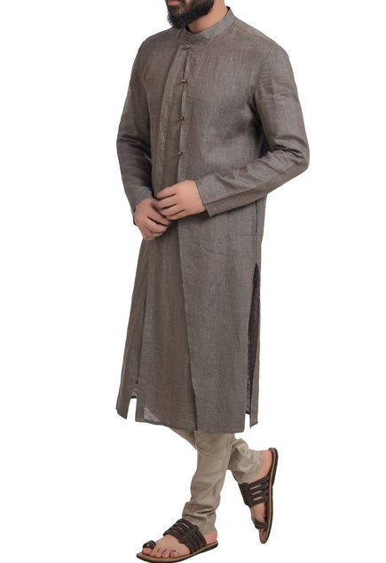 Grey muga dupion silk kurta with churidar