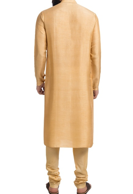Orange muga silk nehru jacket with kurta & churidar