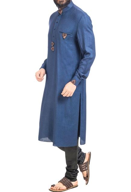 Navy blue embroidered kurta with black churidar