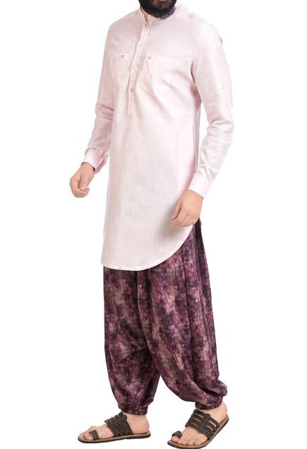 Pink cotton silk kurta with printed cowl pants