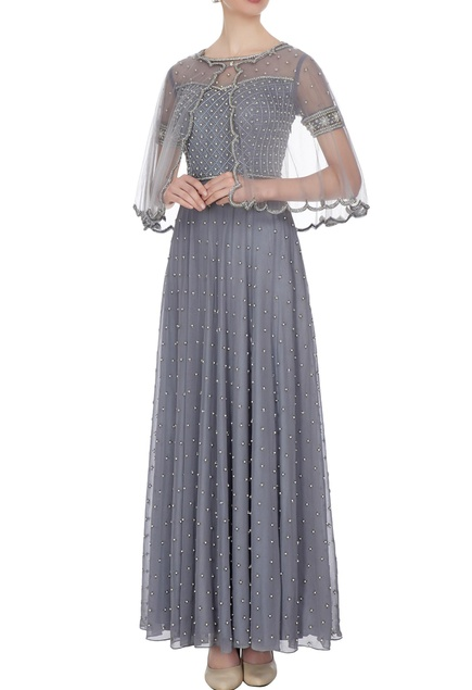 Grey georgette & net, pearl & bead work gown with cape