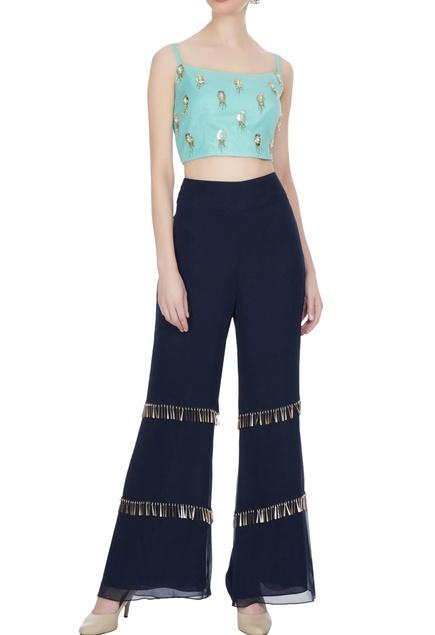 Sea green & blue georgette tassel embellished crop top & pants