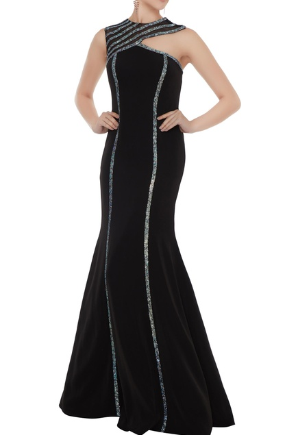 Black stretch fabric silver patti sheath gown