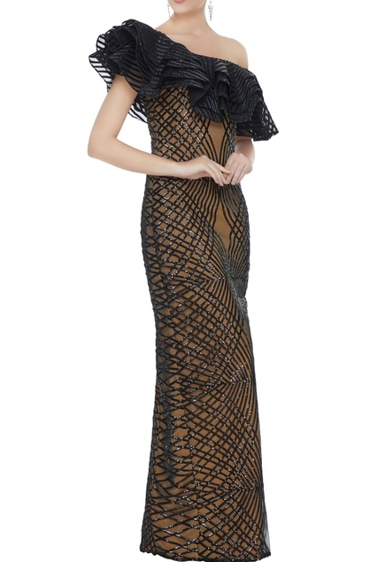 Black stretch fabric frilled sequin one-shoulder gown