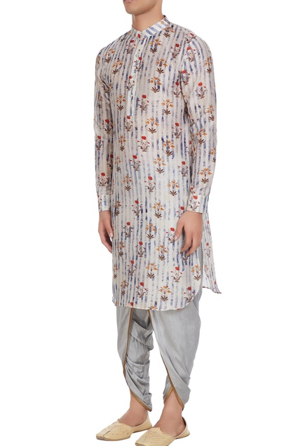Grey tussar & cotton silk floral print  kurta