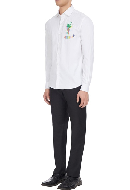 White cotton shirt with whale printed motif