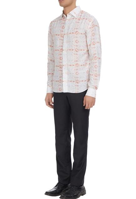 White linen printed shirt