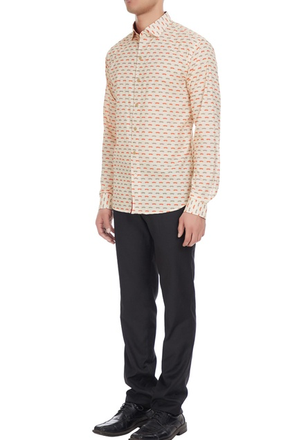 Beige & orange moustache printed cotton shirt