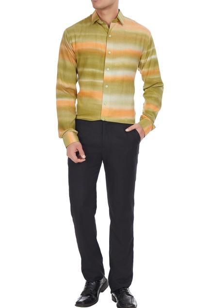 Multicolored shibori dyed collar shirt