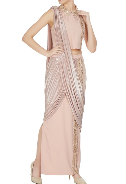 Beige & gold butterscoth & jersey embellished pre-draped saree with collared crop top