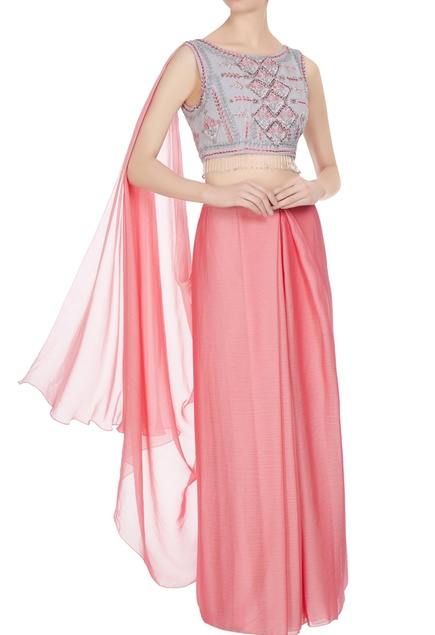 Pink, lavender & silver royal georgette & organza chiffon embellished pre-stitched saree with kilim blouse