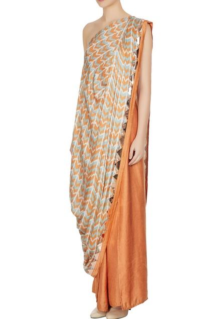 Orange & blue cotton satin printed one-shoulder toga top