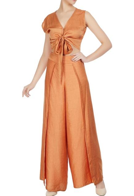 Burnt orange cotton satin crop top and flap pants