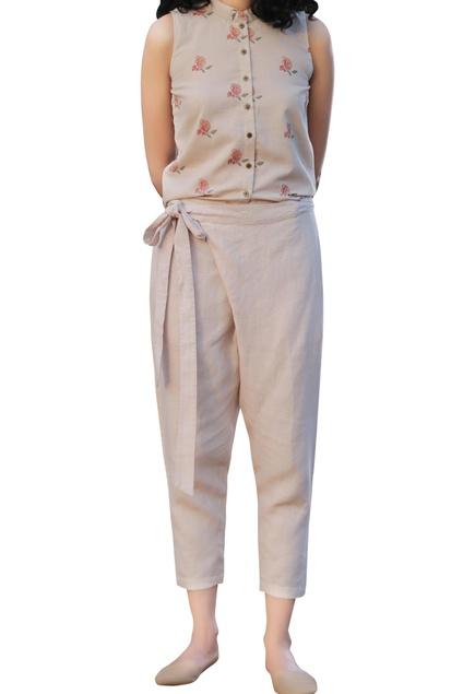 Beige cotton floral handblock printed sleeveless shirt