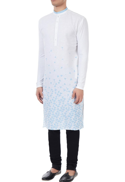 White cotton linen scattered boat print kurta