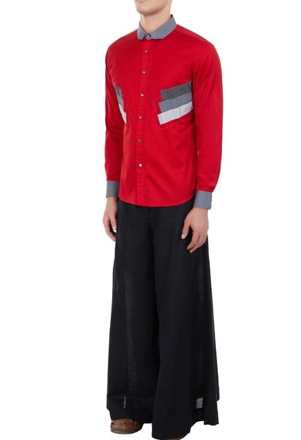 Red poplin applique long shirt