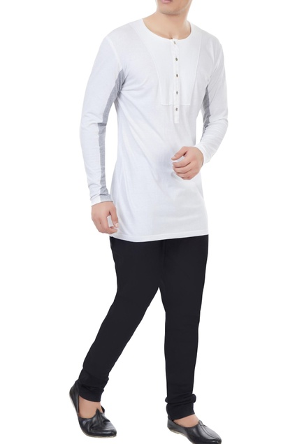 White jersery color-blocked sleeves t-shirt