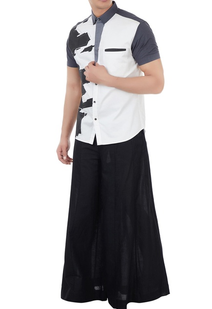 White poplin deconstructed print shirt