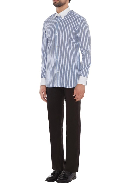 Blue & white striped shirt with contrast colored collar