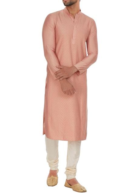 Pintuck cotton silk kurta