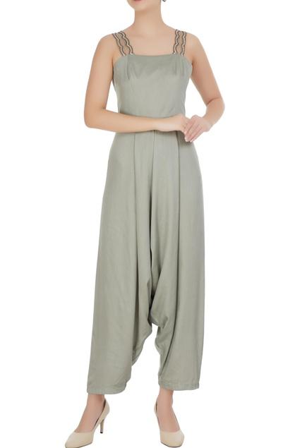 Mint green satin modal cowled jumpsuit