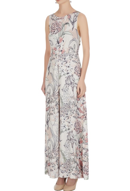 White satin modal printed rouge jumpsuit