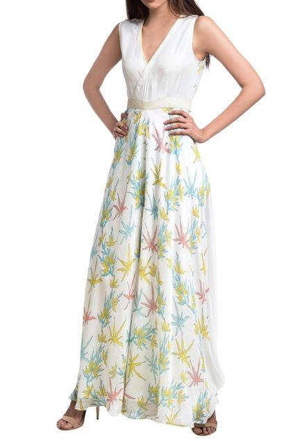 White & blue floral block printed overlap jumpsuit