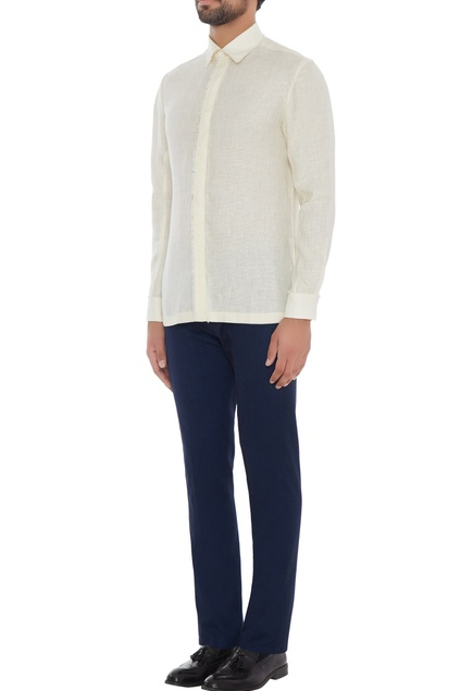Ivory linen solid frayed shirt