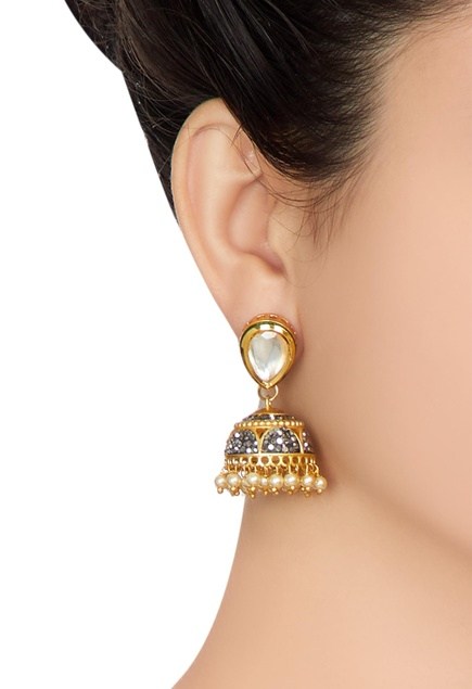 Multiple tiered style jhumka necklace with earrings